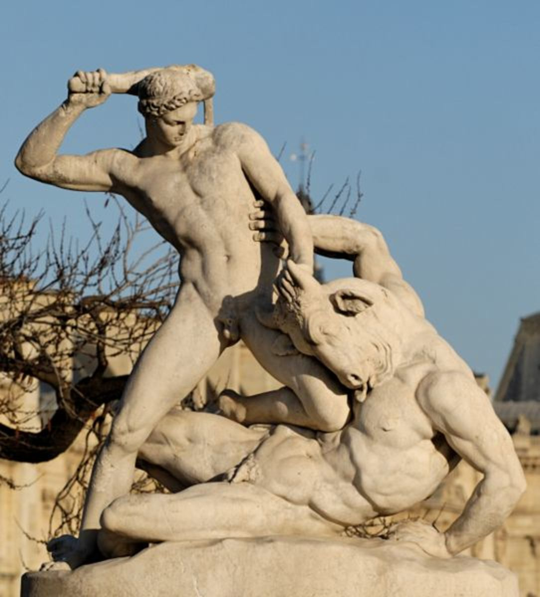 Theseus slaying the Minotaur, sculpture by Ramey, in the Tuileries Gardens, Paris.