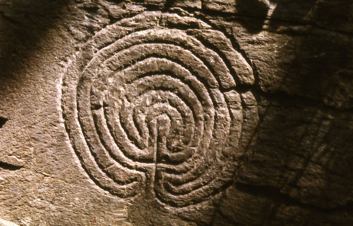 Labyrinth carved into rock, Tintagel, Cornwall