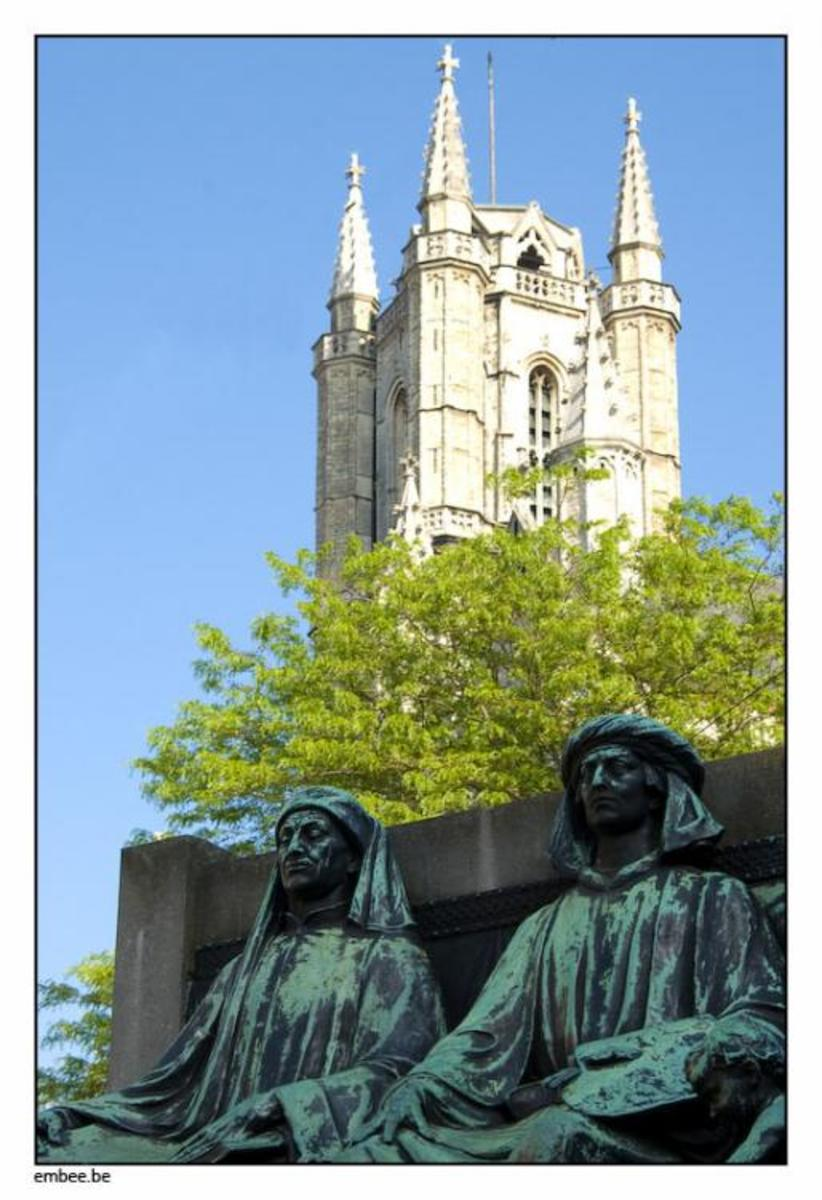 Hubert & Jan Van Eyck, before St Bavo's Cathedral (Ghent) where you can visit the Mystic Lamb...