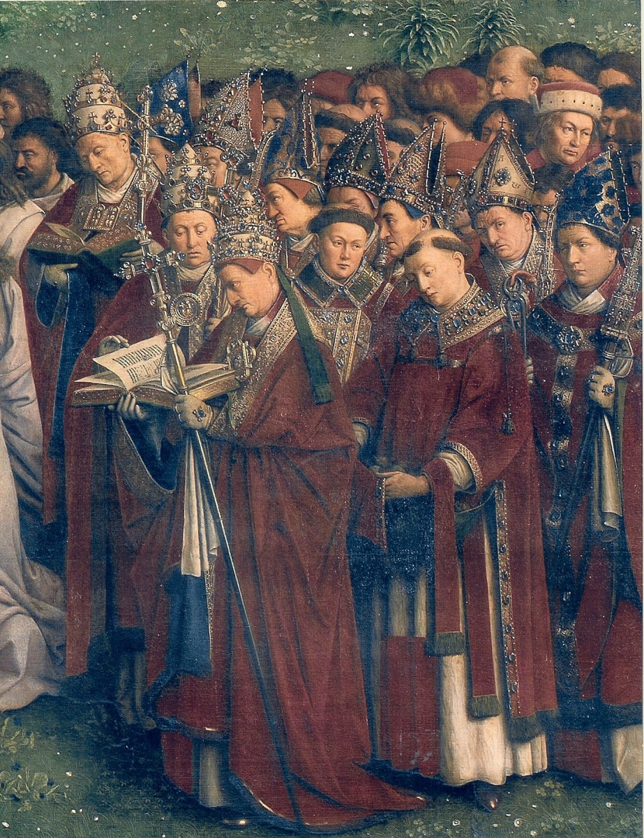 Some popes and bishops on the Ghent Altarpiece. The guy on the right was identified by Peter Voorn as Pierre Cauchon, one of the judges of Joan of Arc. He believes the man above Pierre Cauchon, wearing an ermine hat, is the painter known as Hubert Va