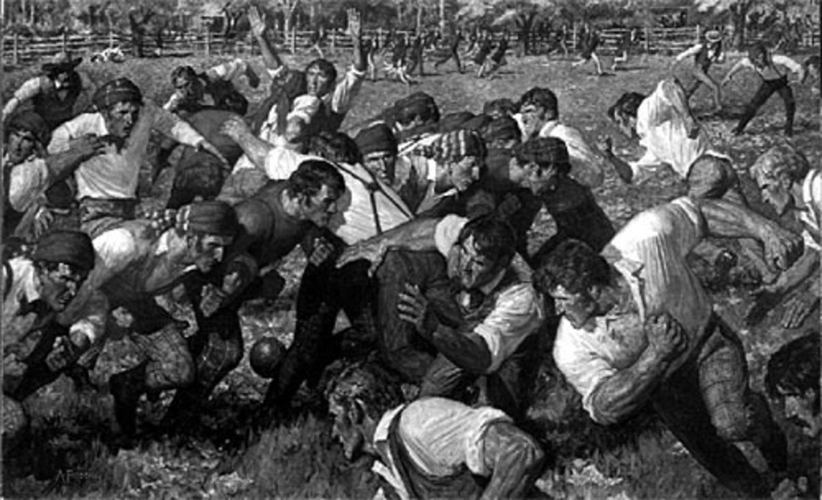 Artist rendition of the first football game.  Image from the public domain.