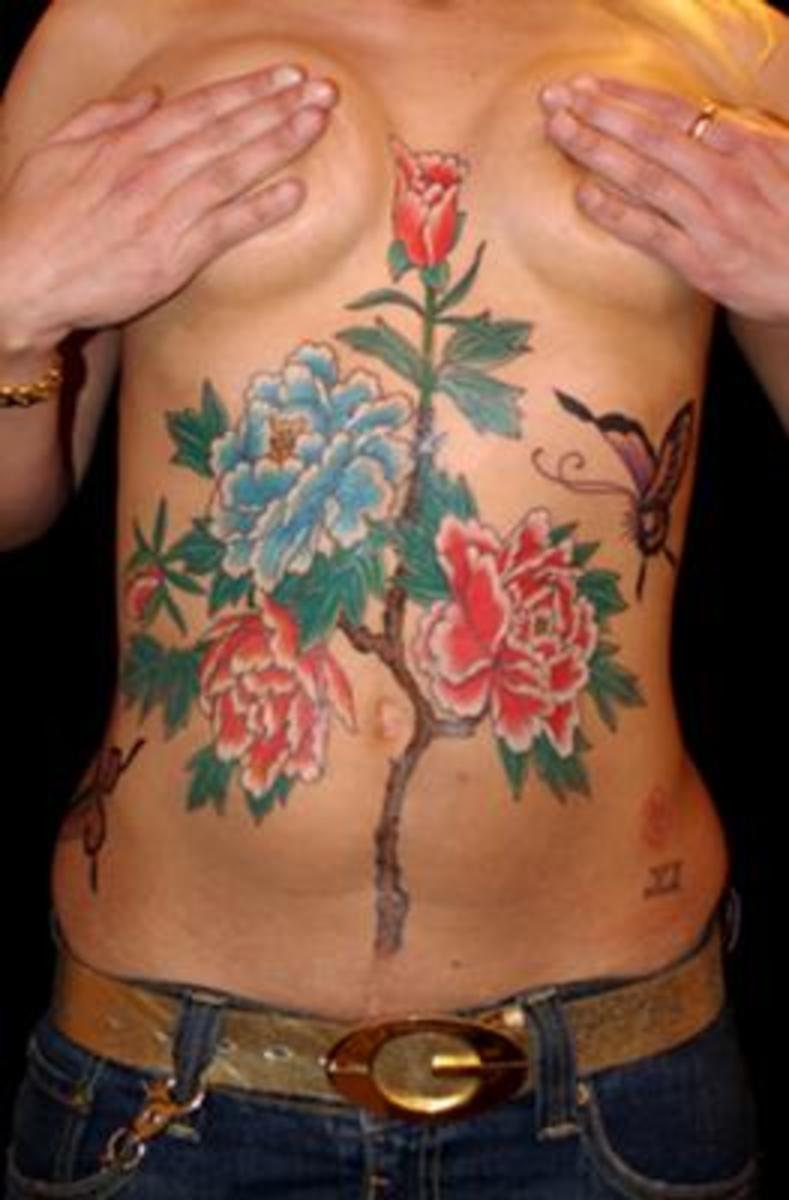 Body Tattoo, with peonies, created to cover scars!