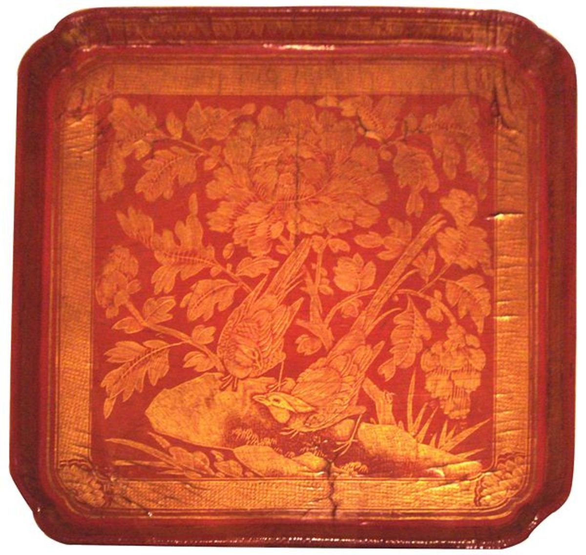 Red lacquer tray with peony images, Song dynasty