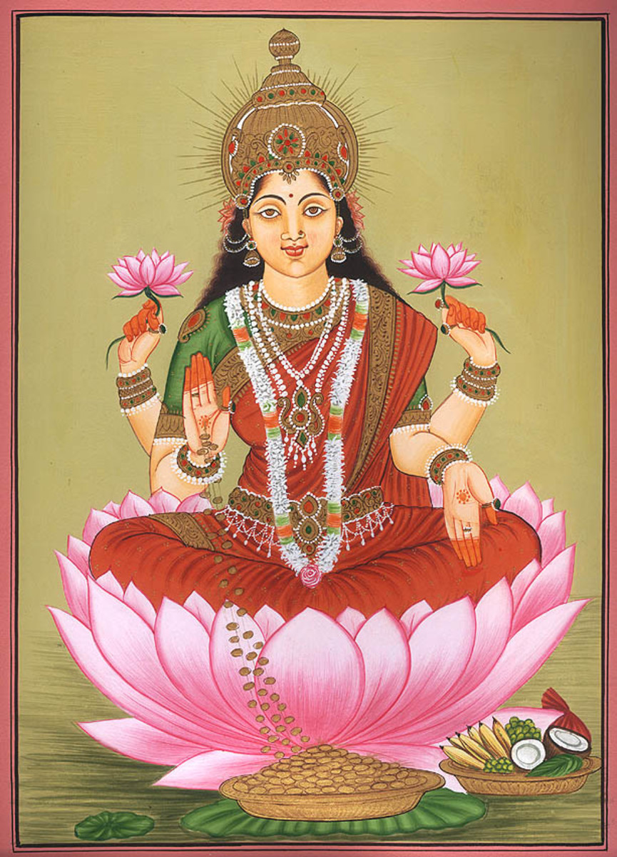 An artwork dipicting Lakshmi-the Hindu goddess for wealth
