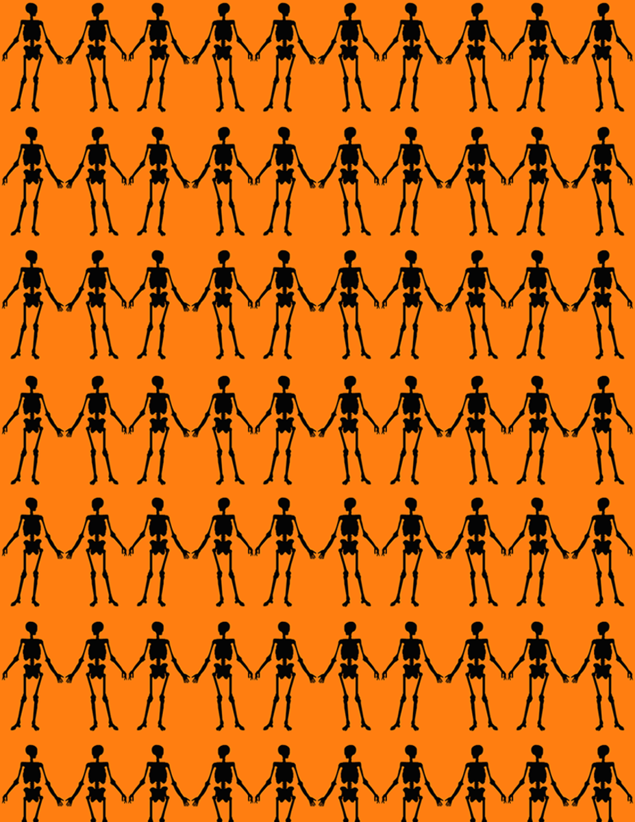Free happy skeletons scrapbook paper on an orange background -- small