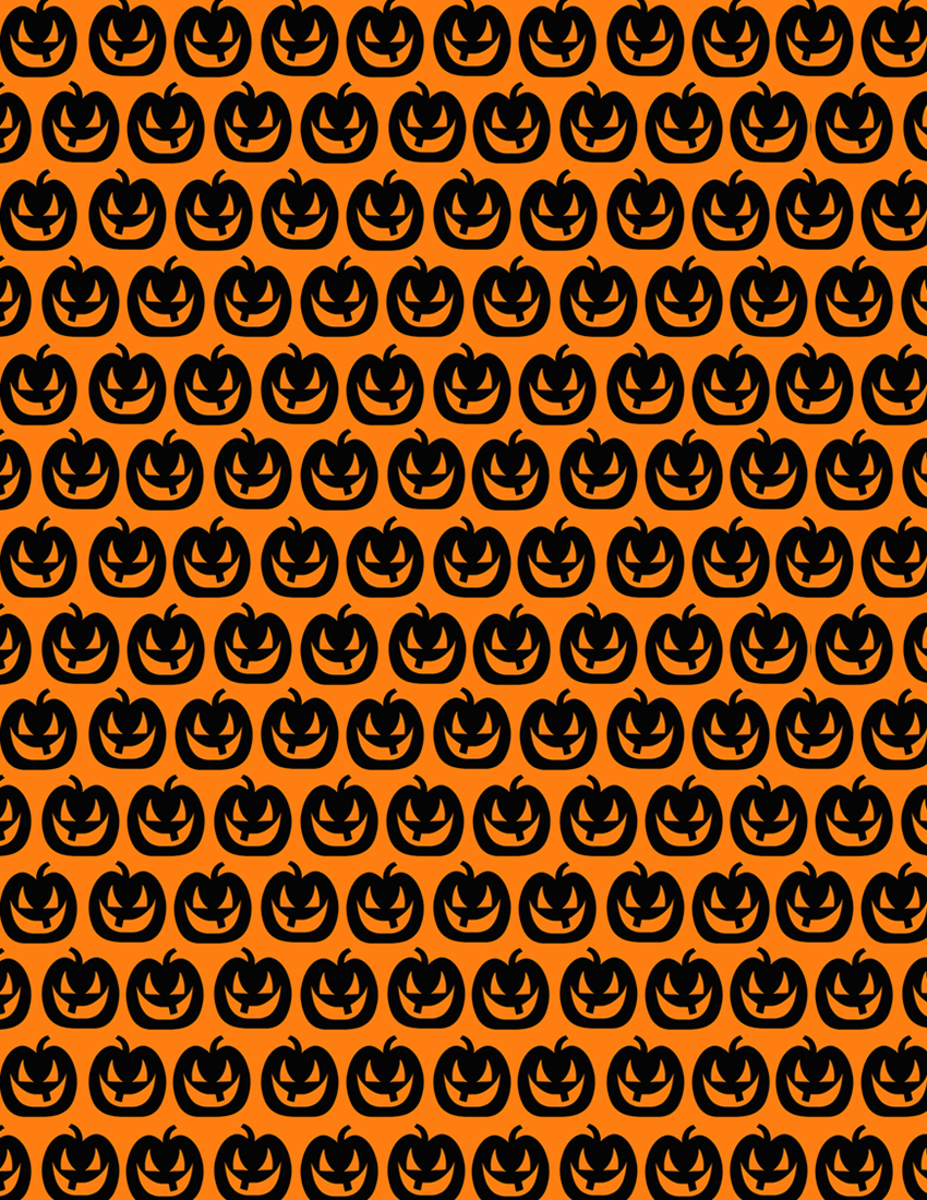 Happy Jack-o-lanterns scrapbooking paper on an orange background -- small