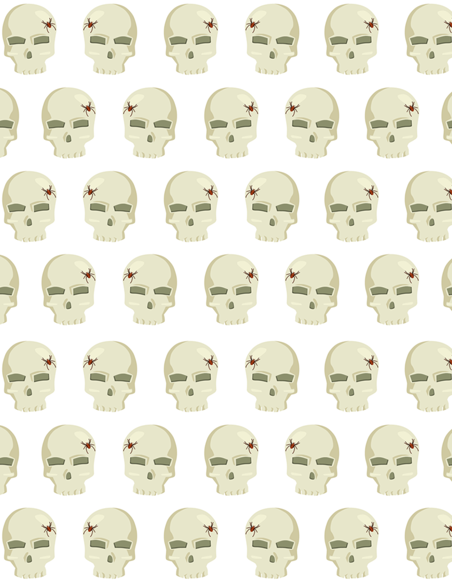Free Halloween skulls scrapbooking paper on a white background