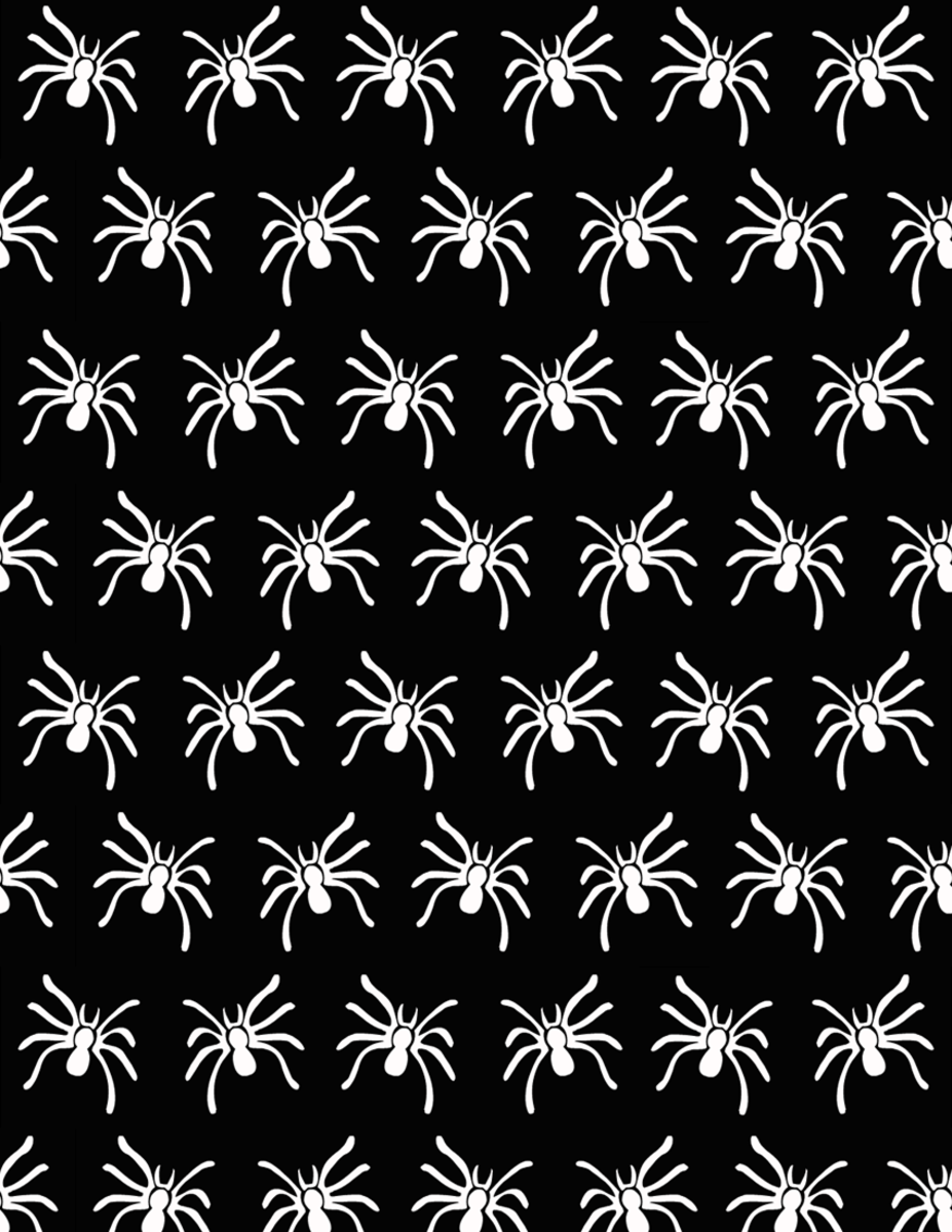 Free creepy spider scrapbooking paper on a black background