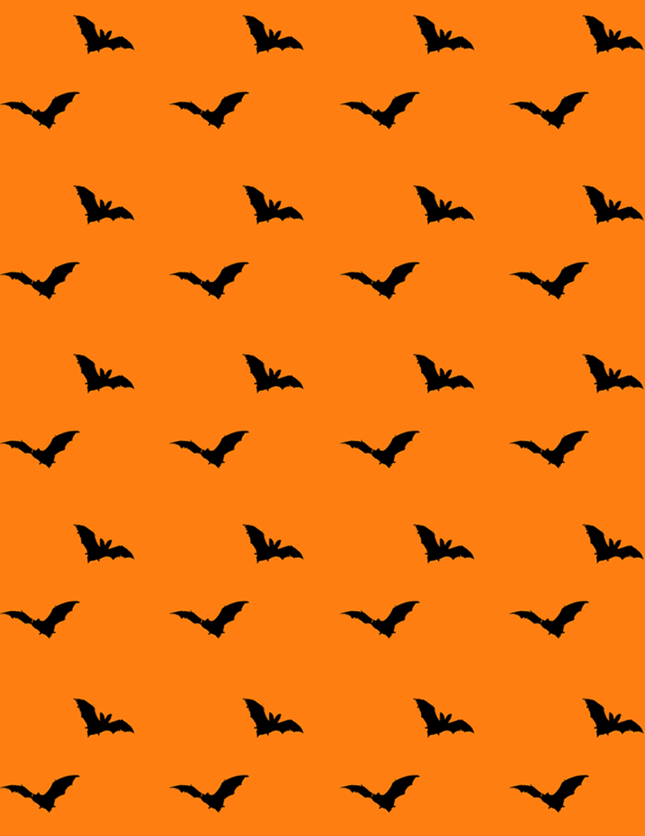 Free flying bats scrapbook paper on an orange background