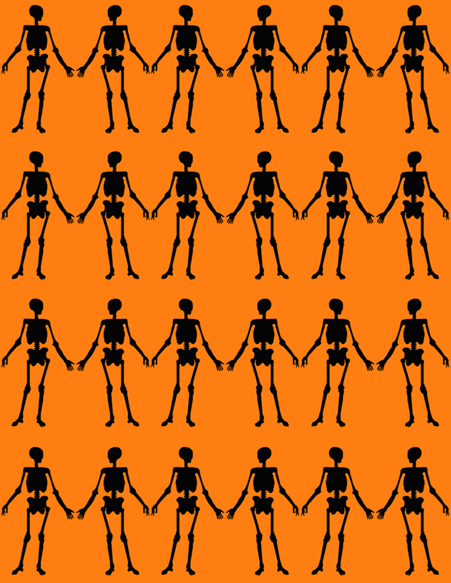 Free happy skeletons scrapbook paper on an orange background