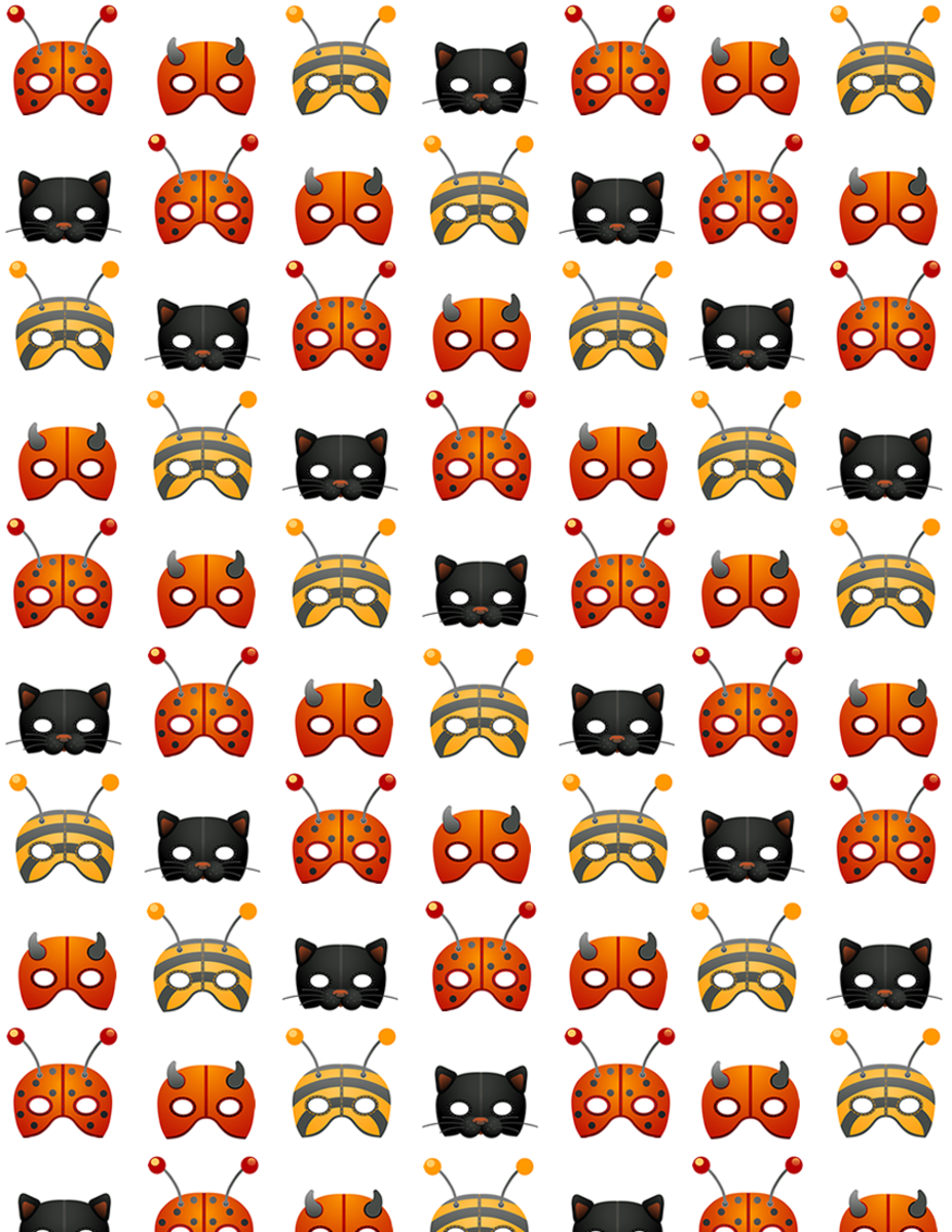 Free Halloween masks scrapbook paper on a white background -- small