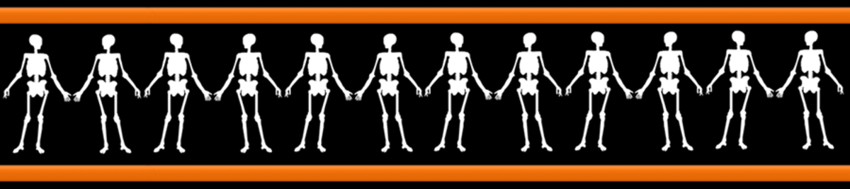 Free happy skeletons Halloween scrapbook border