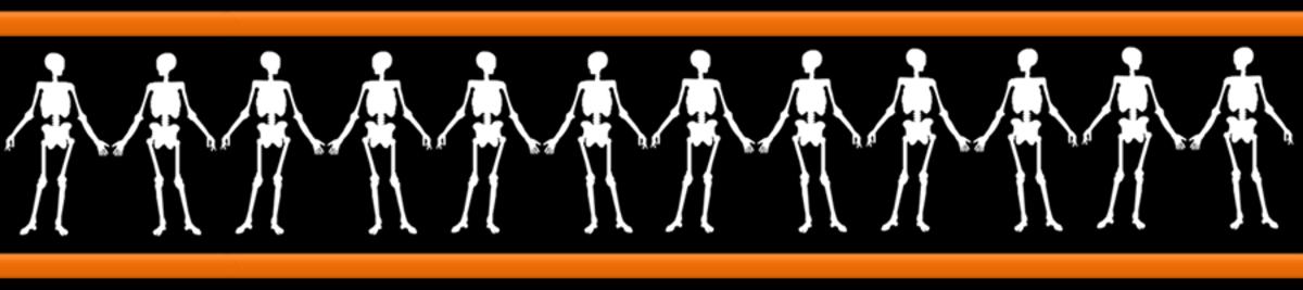 Free happy skeletons Halloween scrapbook border