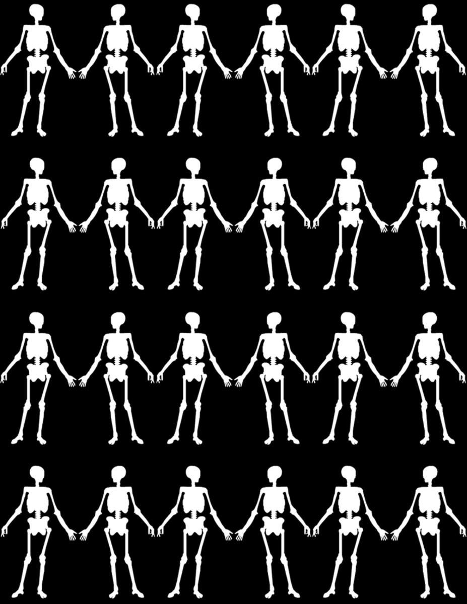 Free happy skeletons scrapbook paper on a black background