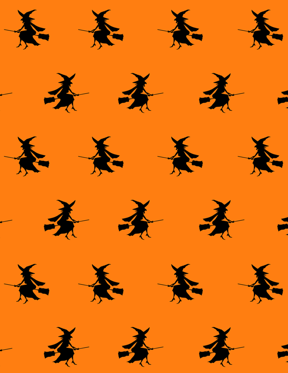 Free flying witches scrapbooking paper on an orange background