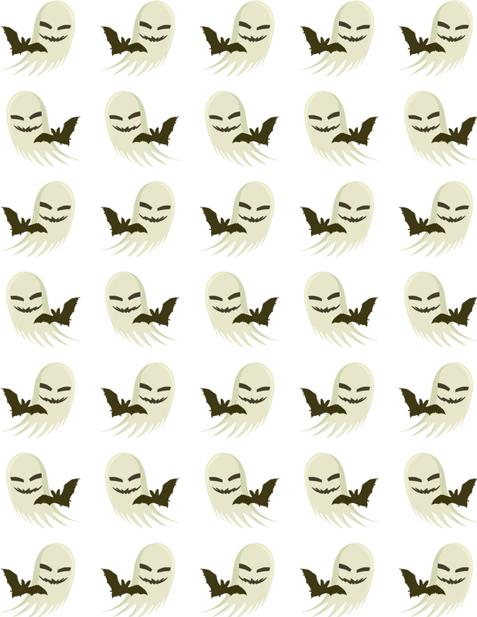 Free bats ghosts scrapbooking paper on a white background