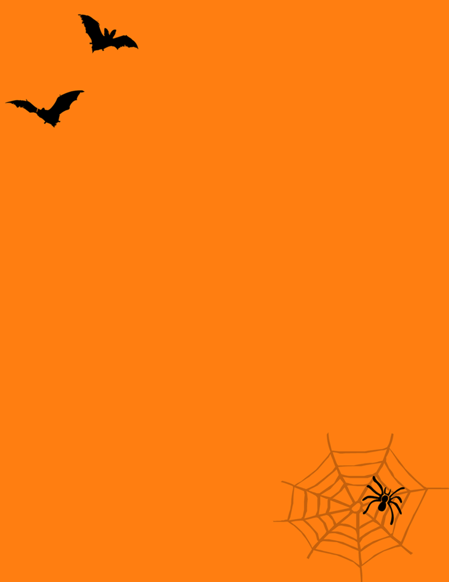 Flying bat, spider and spider web scrapbooking layout on an orange background