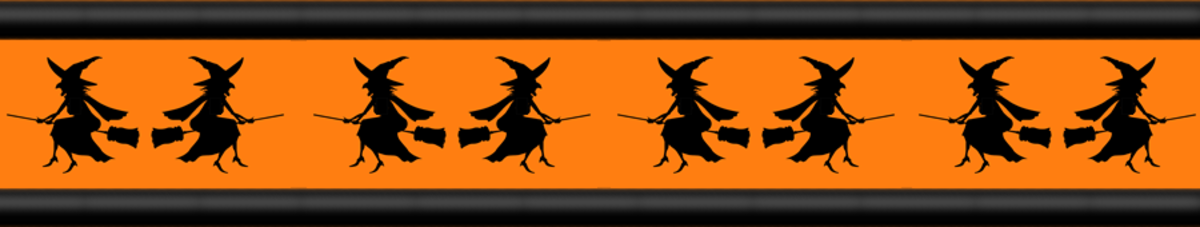 Free flying witches Halloween scrapbooking border