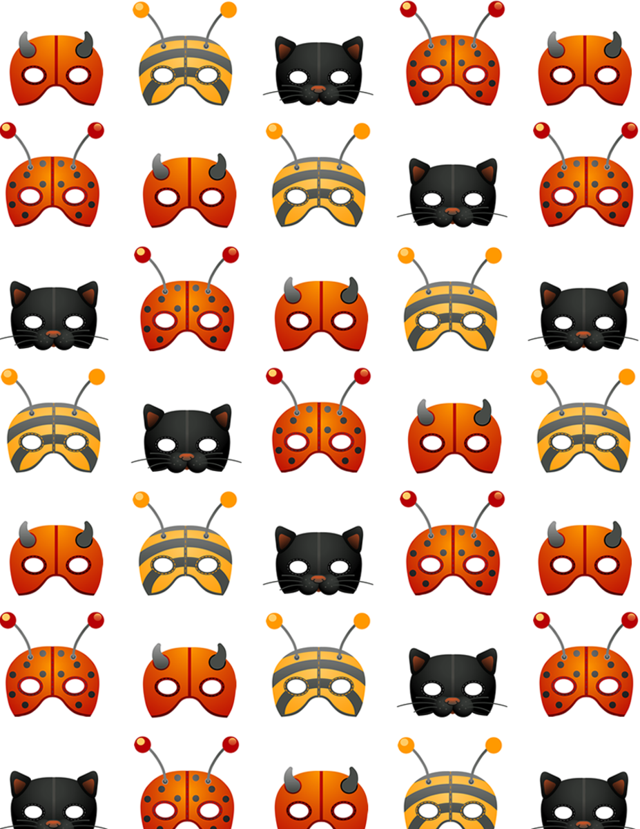 Halloween masks scrapbook paper on a white background