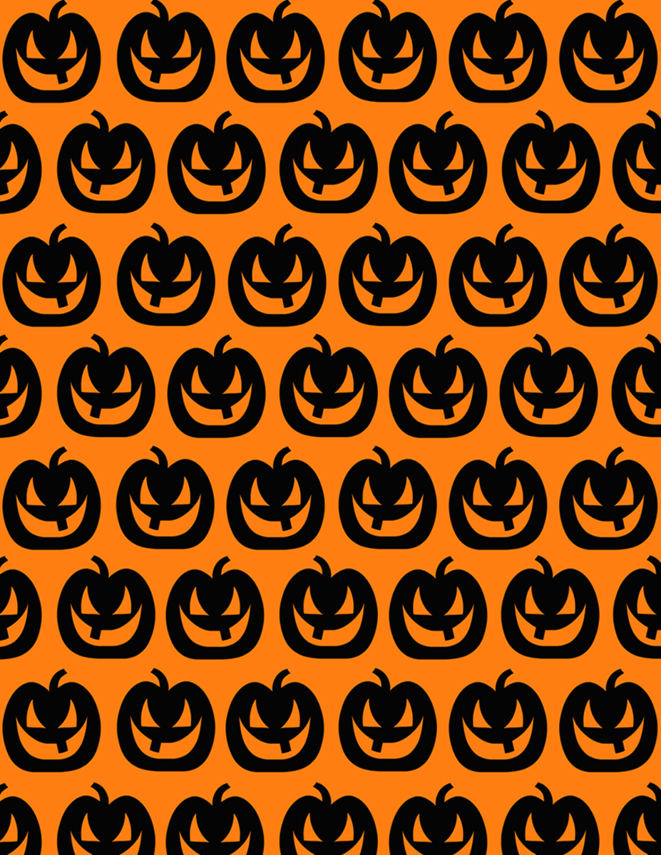 Happy Jack-o-lanterns scrapbooking paper on an orange background