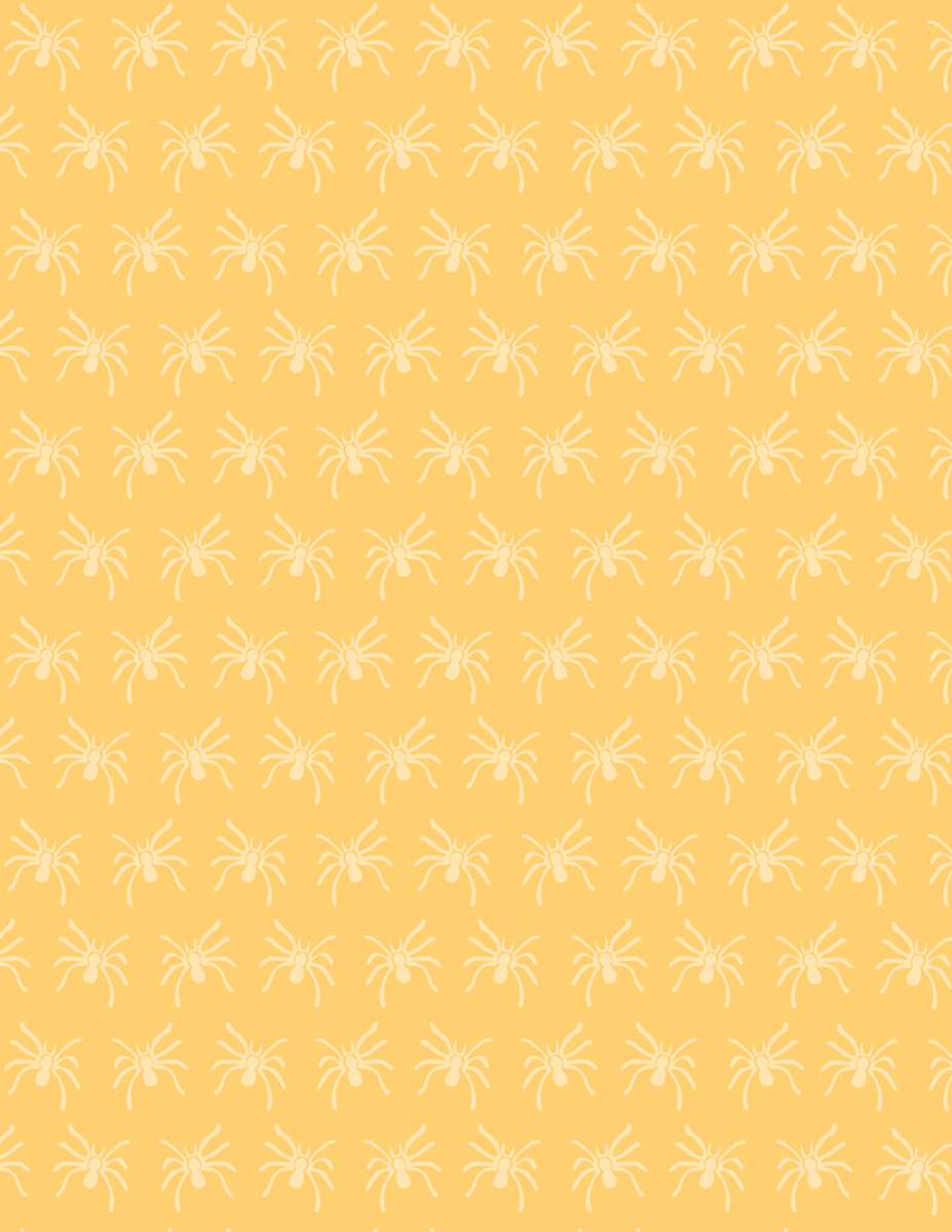 Free creepy spider scrapbook paper on a light orange background -- small