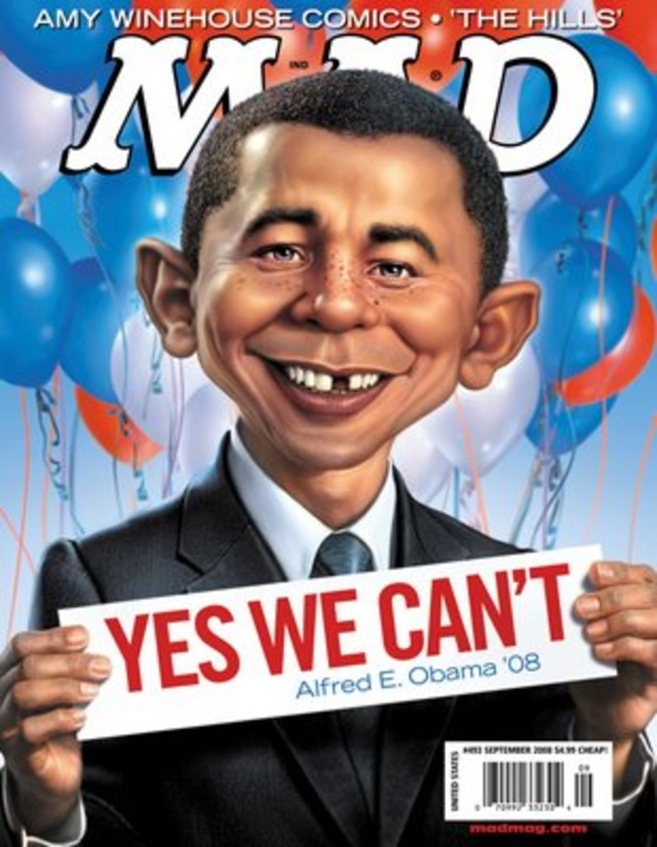 Alfred E. Newman morphed into President Obama.