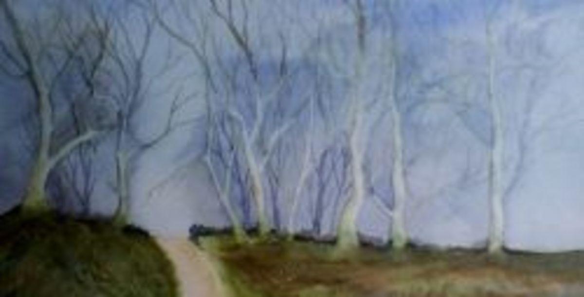sketch of birch trees in winter
