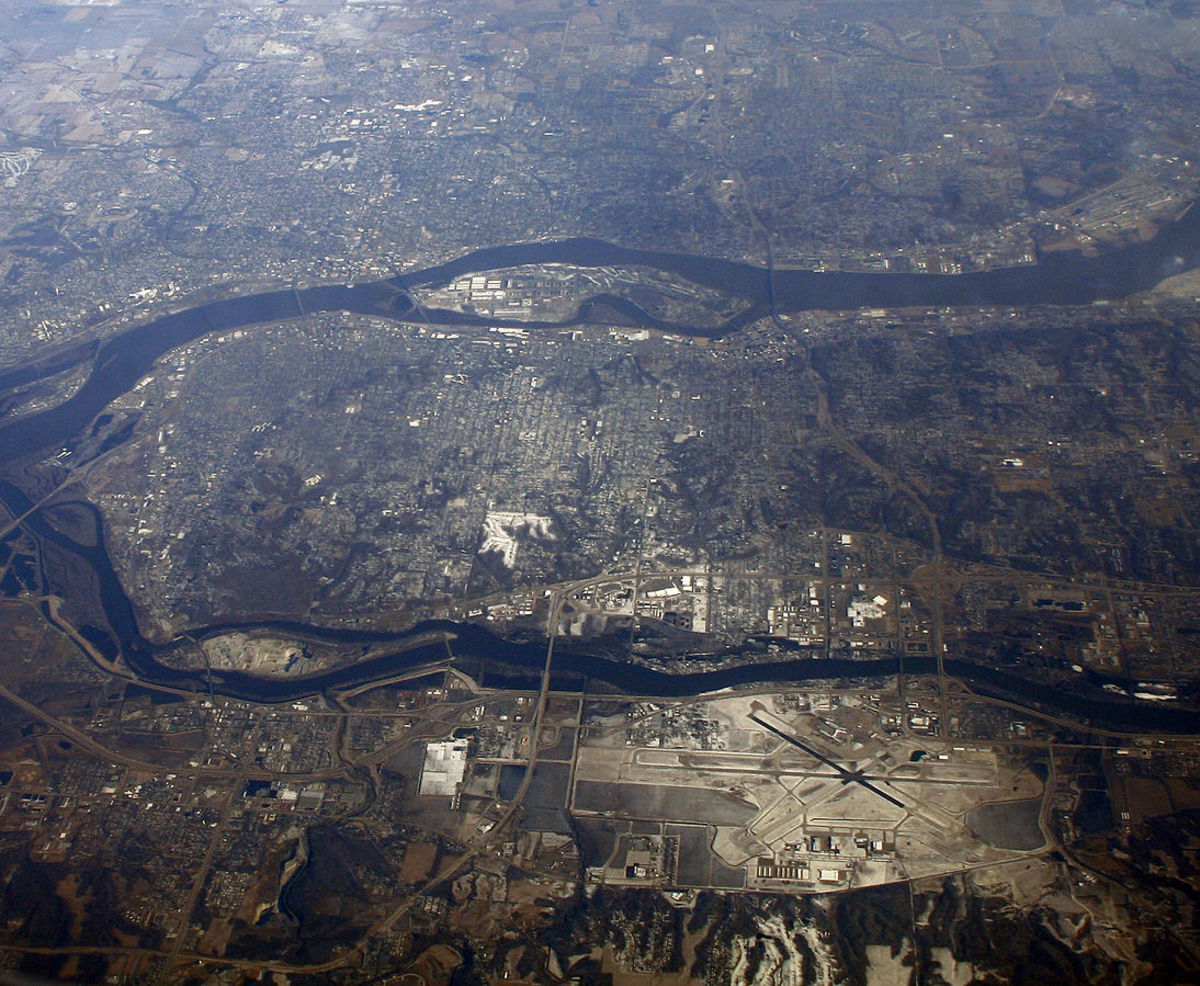 The Quad Cities, where the Rock River (below) joins the Mississippi. Rock Island Arsenal (Arsenal Island, formerly Rock Island) is the big one in the Mississippi.