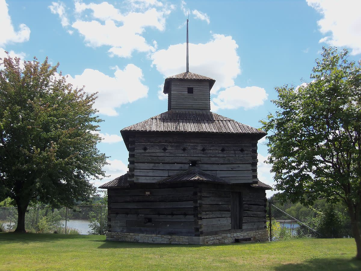 Replica of a blockhouse at Fort Armstrong on Arsenal Island in Rock Island, Illinois.