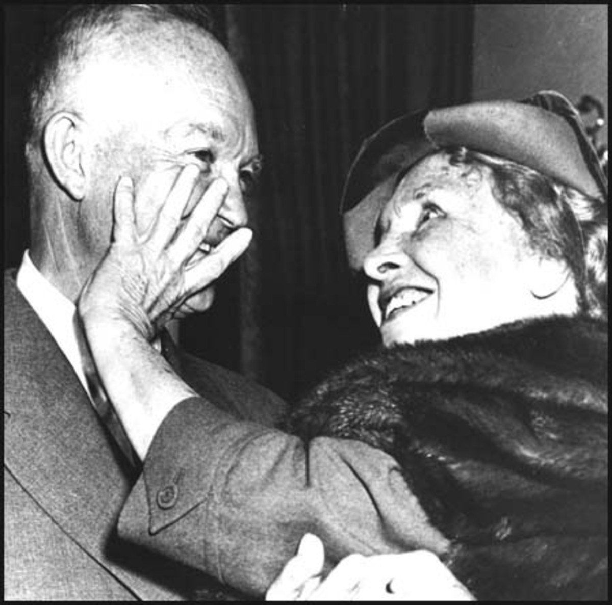Helen Keller reads the lips of President Dwight D. Eisenhower.