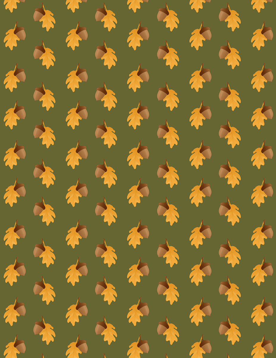 Acorn and oak leaf scrapbooking paper with avocado green background