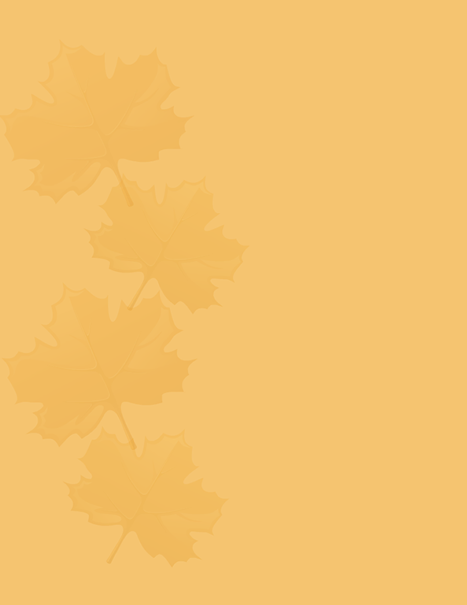 Free subtle fall leaves on orange background free scrapbooking paper -- design on edge of paper