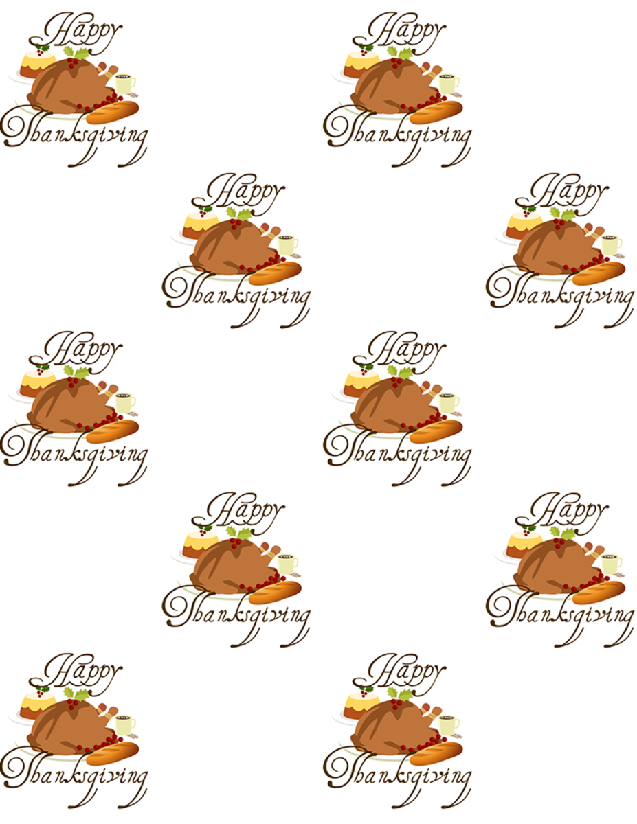 Free Thanksgiving turkey dinner scrapbook paper with white background -- large