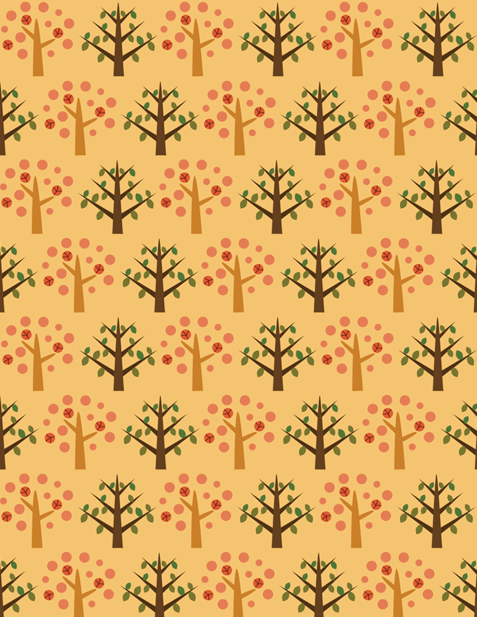 Whimsical autumn forest scrapbook paper on orange background -- large