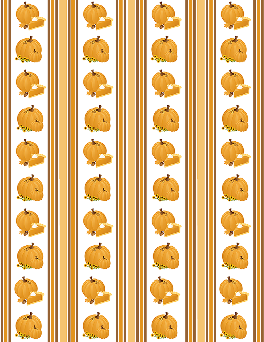 Free Thanksgiving pumpkins and autumn stripes scrapbook paper with white background