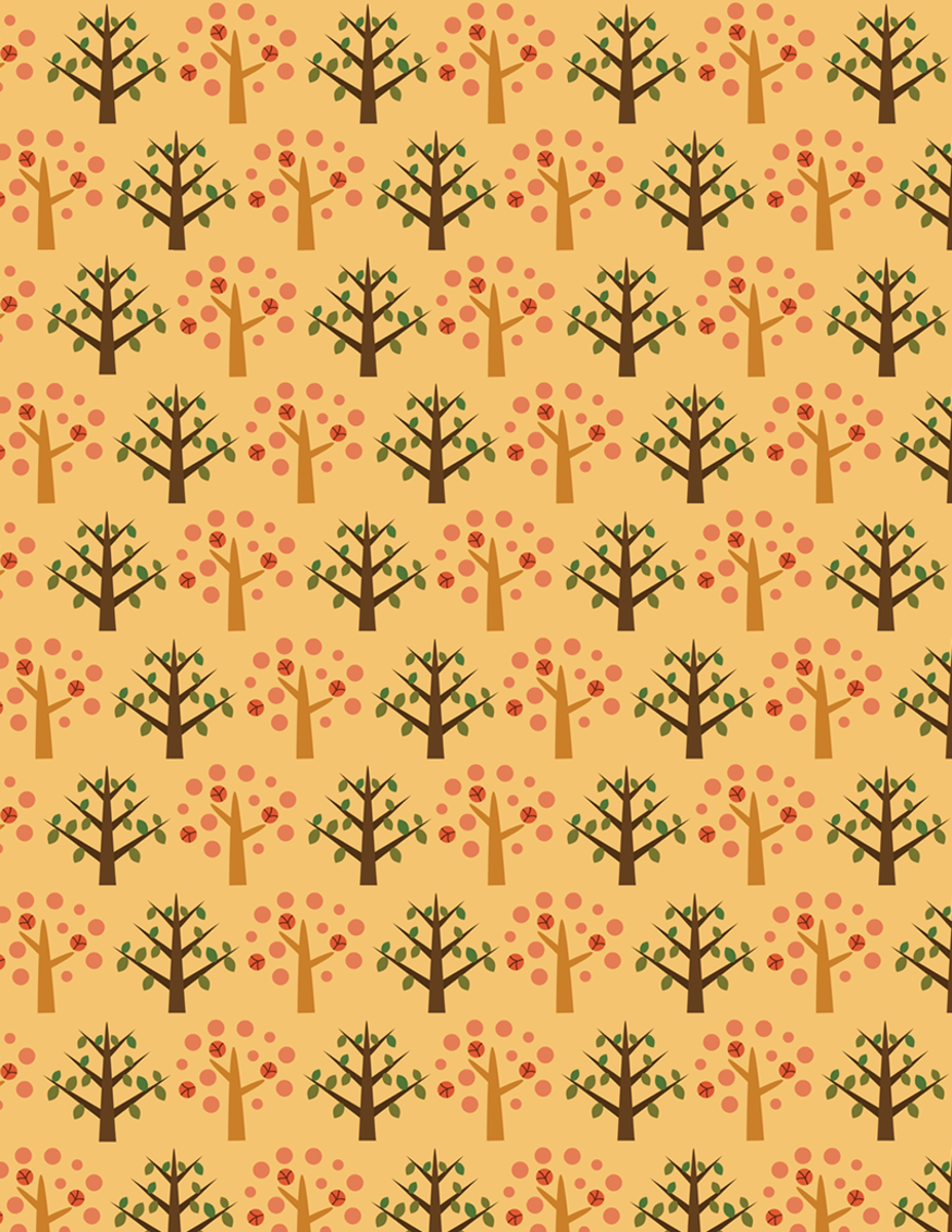 Free whimsical fall forest scrapbook paper on orange background -- medium