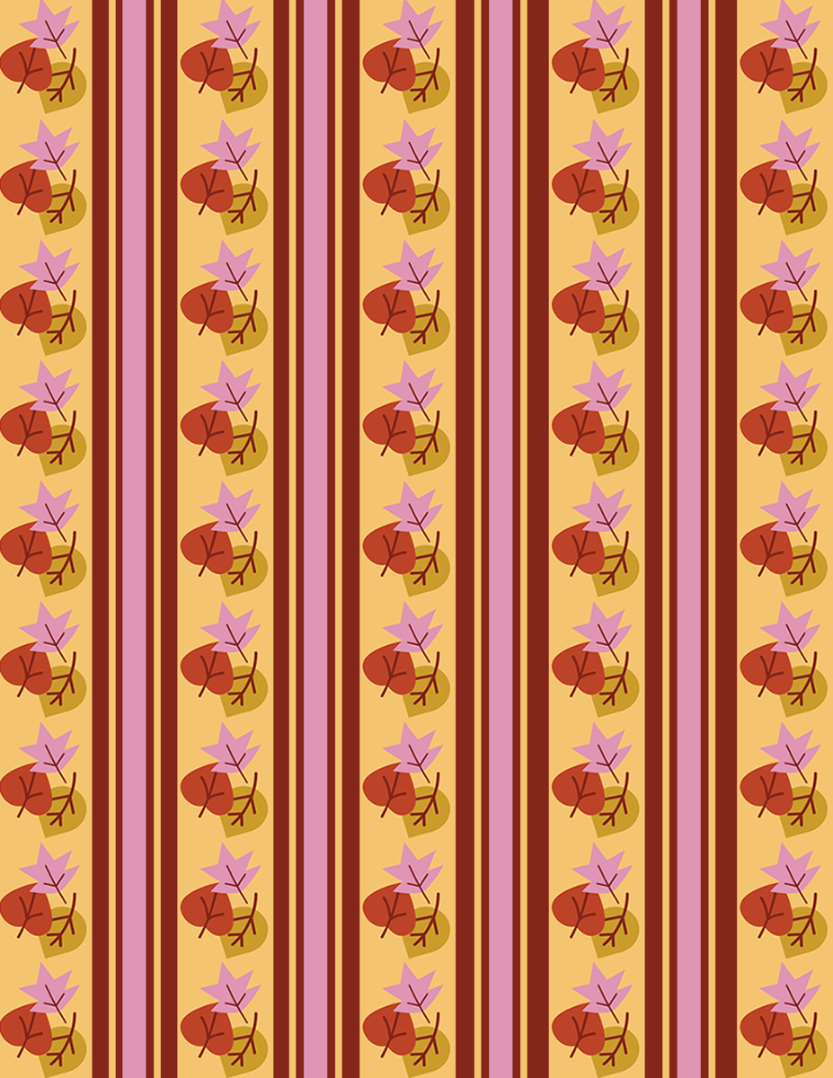 Fall leaves scrapbook paper on orange background with maroon, pink and orange vertical stripes