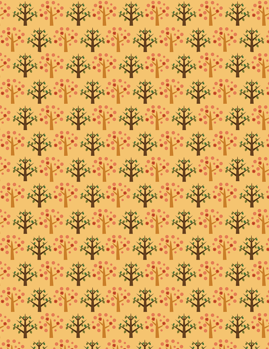 Free whimsical autumn forest scrapbook paper on orange background -- small