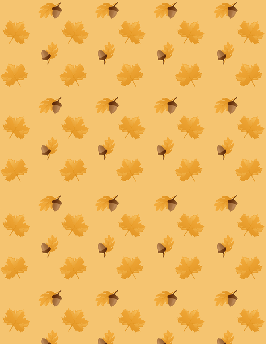 Acorn, oak leaf and maple leaf scrapbook paper with light orange background
