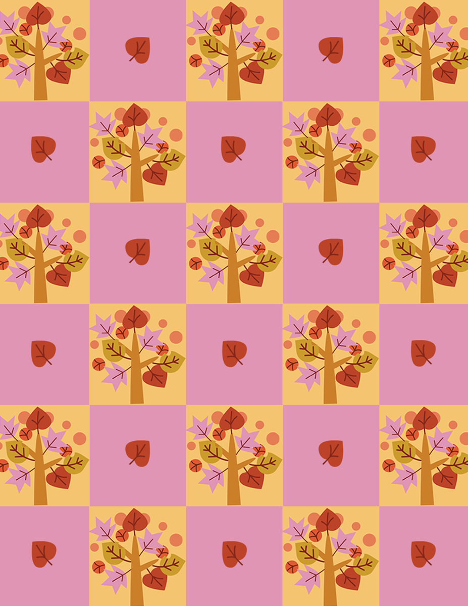 Checkerboard whimiscal autumn trees free fall scrapbook paper in orange, maroon, rust, pink and green