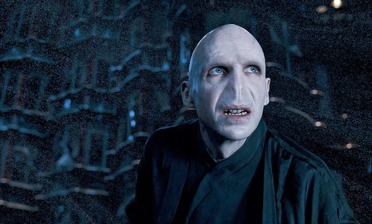 Actor Ralph Fiennes as Lord Voldemort