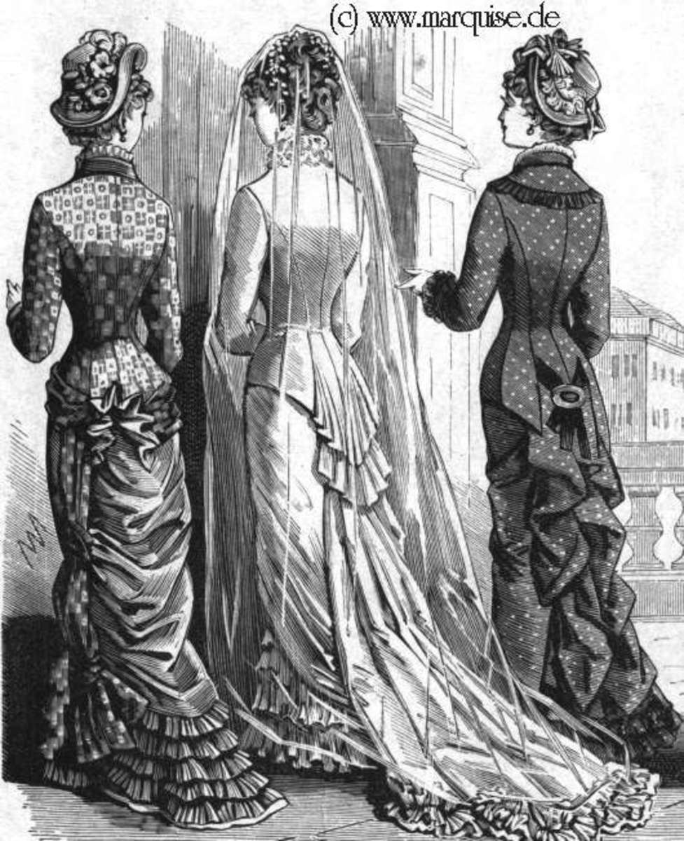 1880 fashion plate showing a bride, maid of honor, and young lady. Source: http://www.marquise.de/
