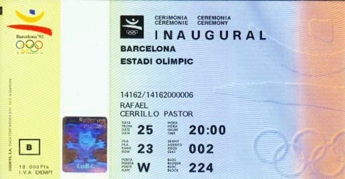 Ticket to the opening ceremonies of the Barcelona Summer Olympics