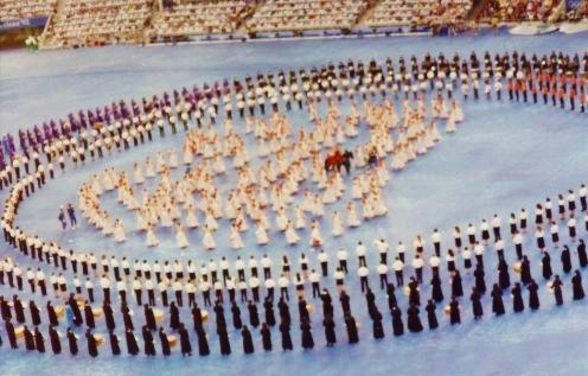 Cristina Hoyos (flamenco dancer) on the black stallion - Opening Ceremony image of Olympics in Barcelona