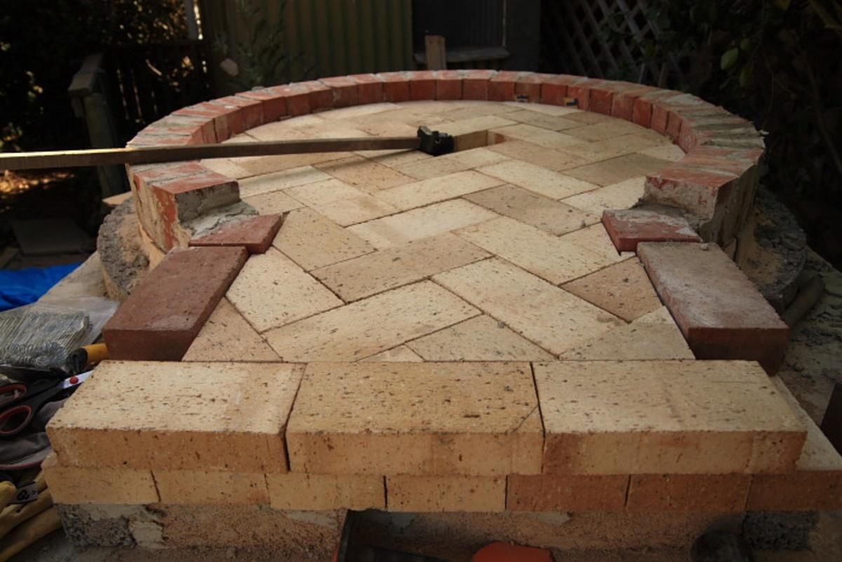 The second layer of floor bricks