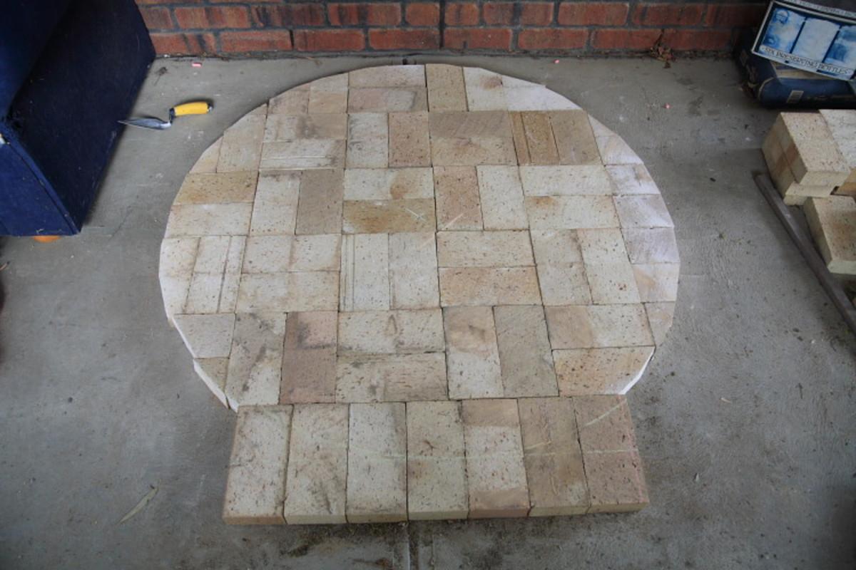 The floor bricks ready to lay