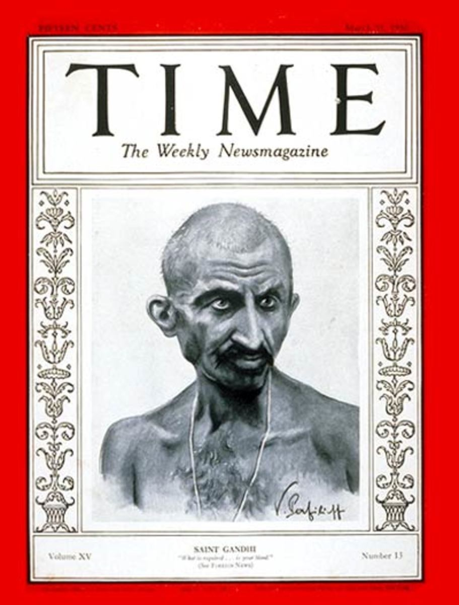 The first of three Time magazine covers featuring Gandhi