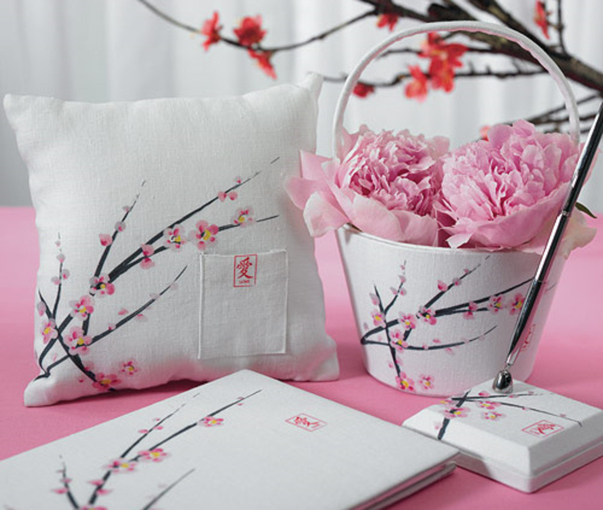 Cherry Blossom Ceremony Accessories from Wedding Favors Unlimited.