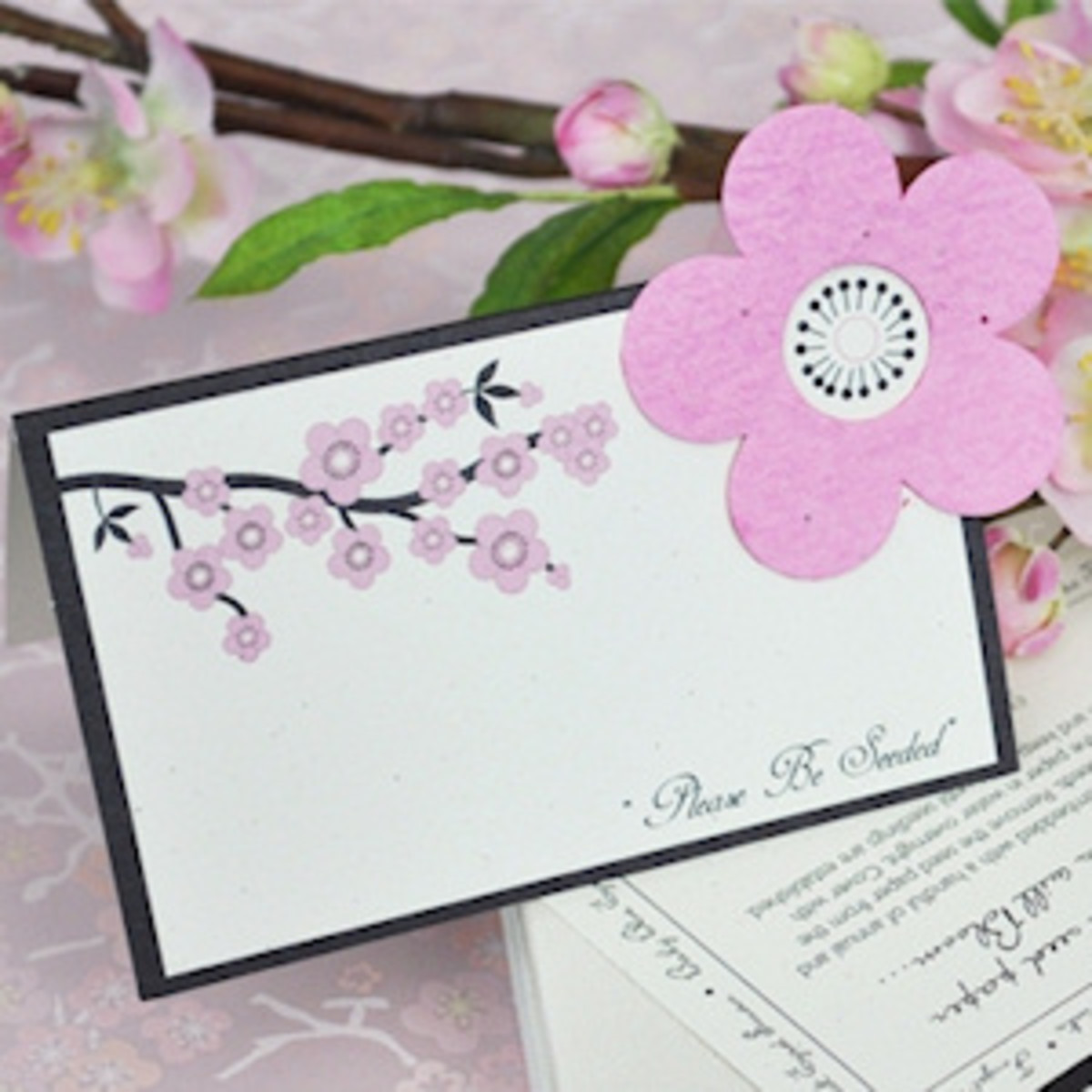 Cherry Blossom place cards with plantable wildflower seeds.