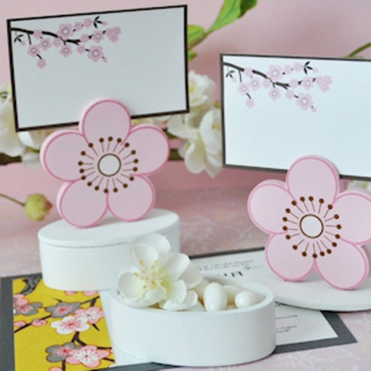 Cherry blossom place card holders/favor boxes.